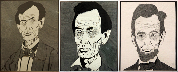 Greg Lyons' drawings of Lincoln in (from left) 1858, 1860 and 1863