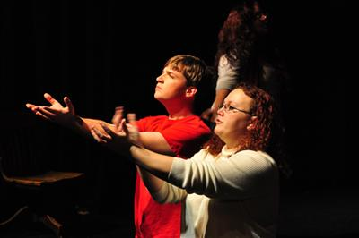 John David Welch with director Renee Robinson in rehearsal for Jesus Christ Superstar. Photo by Carol Zamora Ward.