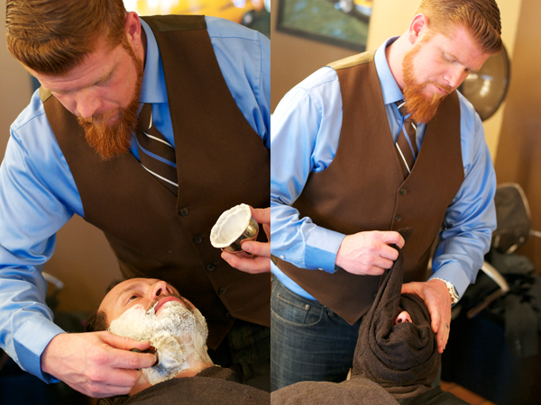 Nexgen owner Mike Garcia gives a customer a 9-step shave