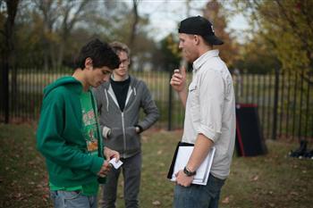 Sam Wiley (right) talks with Hayden Mason