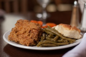 B. McNeel's fried chicken with green beans, carrots and homemade biscuits