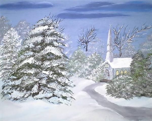 Joyce Cummings - Winterscape with little church - 300 dpi
