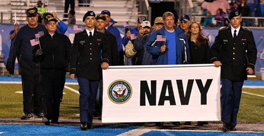 Honoring members of the Navy at MTSU's 2014 Armed Services Day
