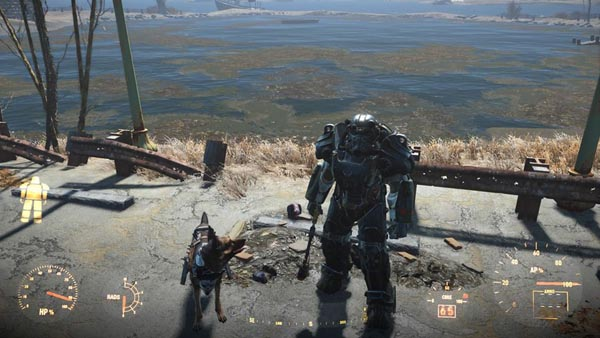 Conquering the wasteland with only Power Armor, a Super Sledge and my trusty companion Dogmeat.