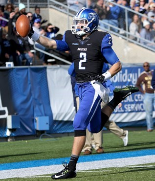 Austin Grammer carries it in the end zone for the first Blue Raiders score in a big win against North Texas on Nov. 21.