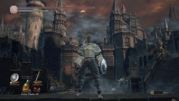 A towering castle, an example of the stunning settings of Dark Souls III