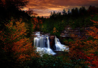 autumn-sunset-waterfall