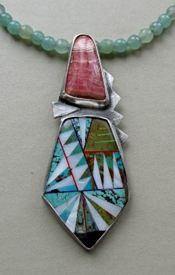 Sterling inlayed stone rhodochrosite pendant by Anne Rob