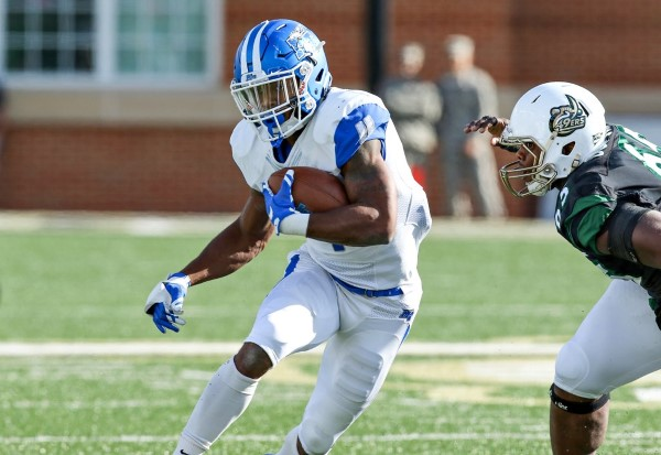 I'Tavius Mathers carries the rock for MTSU. Photos courtesy goblueraiders.com.