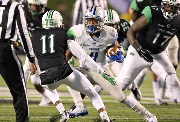 Nov. 12 marked the first time since the season opener Blue Raider running back I'Tavius Mathers failed to gain 100 total yards. Photos courtesy goblueraiders.com.