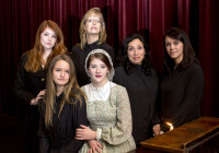 Little Women: Catherine Birdsong plays Meg, Teri Beck Plays Aunt March, Haydin Oechsle plays Beth, Charlotte Myhre plays Jo, Ximena Lindsey plays Marmee, Bethany Hays plays Hannah