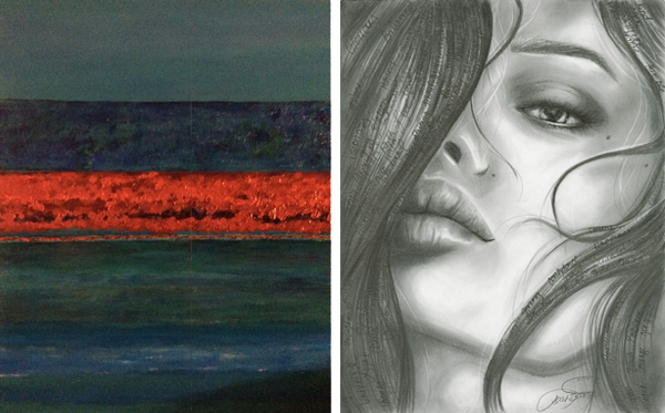 "From left: Artwork by Willaim Slinkard and  ""Amore Love"" by Leah Boorse"