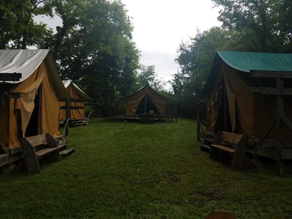platform tents located at Camp Piedmont